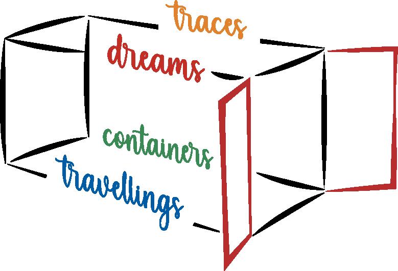 Logo di Dreams Traces Travellings Containers - sfondo trasparente